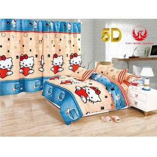 KOREAN COTTON 5in1 BEDSHEET SET with CURTAIN , . ,