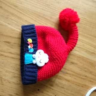 🚚 1-2歲 兒童兔子香菇 紅色毛線帽(頭圍45cm)