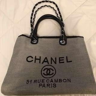 Chanel 31 Rue Cambon Paris Canvas Tote Chain Bag