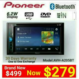[Brand new] 2017 Best Selling PIONEER AVH-A205BT BLUETOOTH  Touchscreen  ▪ DVD/CD/USB/AUX Player Player with AM/FM Tuner.  Model: AVH-A205BT Usual Price: $499.90 Special price: $279 (Brand new in box & sealed)  whatsapp 85992490 to pick up Today.