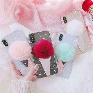 Casing Handphone - Sliver Mirror DIY Fur Ball Ice Cream