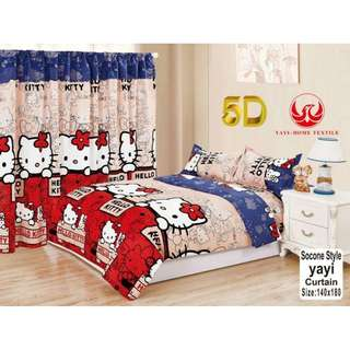 KOREAN COTTON 5in1 BEDSHEET SET with CURTAIN ...,