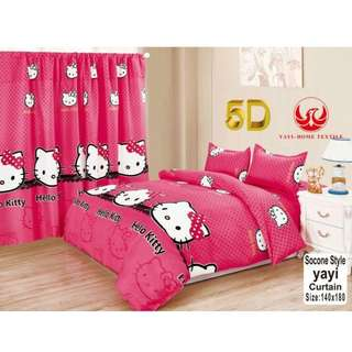 KOREAN COTTON 5in1 BEDSHEET SET with CURTAIN   ..,,.,.,