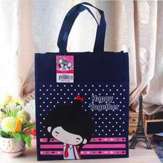 Canvas Tote Bag for kids (Dark blue/School Girl)