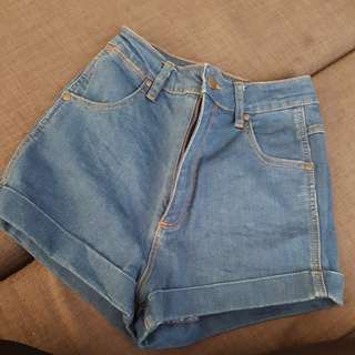 Wrangled Denim Shorts