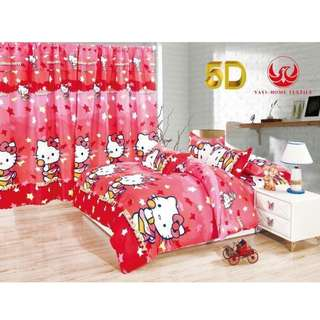 KOREAN COTTON 5in1 BEDSHEET SET with CURTAIN ..,,.,