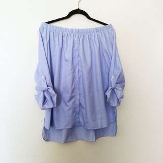 Off Shoulder Blue Button Up Top