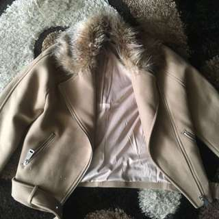 H&M FUR COLLAR COAT