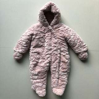 Preloved Mothercare 18-24M Pink Fluffy Wadded Snowsuit for Baby Girl