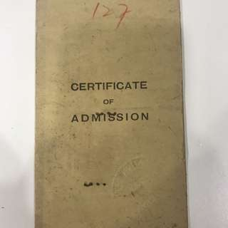 Certificate of Admission into Singapore, Federation of Malaya