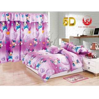 KOREAN COTTON 5in1 BEDSHEET SET with CURTAIN ,,,,,,