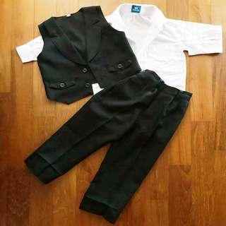 CNY sale boys shirt vest pants suit set