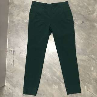 Zara Green Cigarette Pants