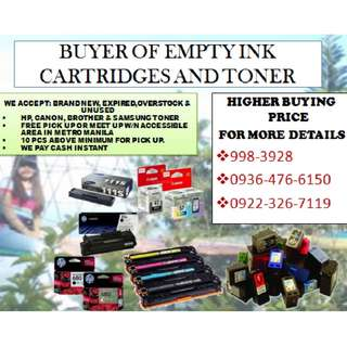 BUYER OF EMPTY INK CARTRIDGES AND TONER BRAND NEW INK AND TONER EXPIRED UNUSED