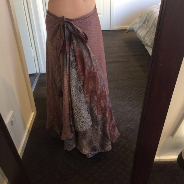 100% silk boho skirt