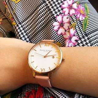 Olivia Burton Timeless Dusty Pink And Rose Gold Watch