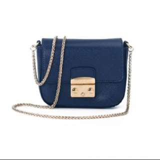 Furla mini chain bag navy blue
