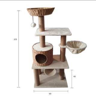 Rattan Cat condos Paradise banana leaf cat trees furniture -in Furniture & Scratch…
