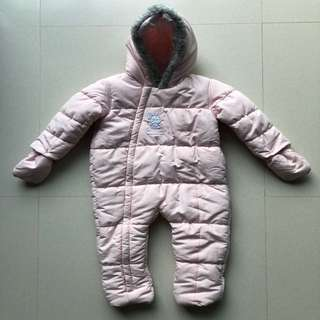 Preloved Mothercare 18-24M Pink Bunny Snowsuit for Baby Girl
