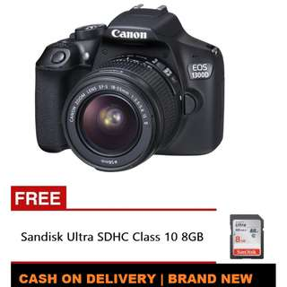 Canon EOS 1300D 18MP with EF-S 18-55mm Non-IS III Lens Kit with Free Sandisk Ultra SDHC Class 10 8GB  | Brand New | Cash On Delivery