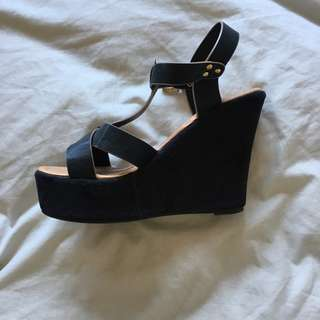 Strappy Black Wedge With Gold Detail