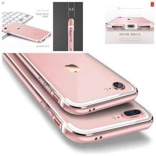 全新未用 iphone7手機殼玫瑰金邊框 4.7寸 連前後保護貼