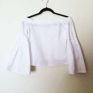 Off shoulder white top w/ bell sleeves