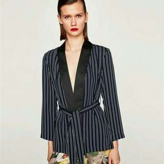 WST 19331 Stripe Belted Kimono Top
