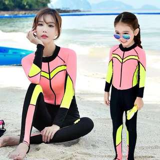 Mum & Daughter Zip Rashguard 1 Piece Diving Suit Wetsuit Long Sleeve Long Tights Swim Wear