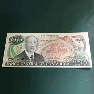 外國(哥斯達黎加)早期紙鈔,全新直版已絕版,&009