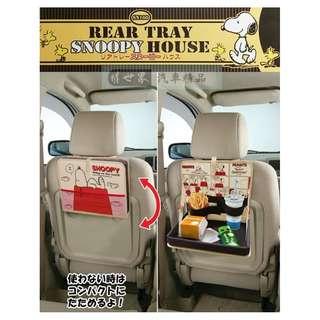 🚚 權世界@汽車用品 日本進口 SNOOPY 史奴比 多功能車內後座椅背 便利餐盤架 收納置物袋 SN166