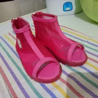 Boots anak pink transparant