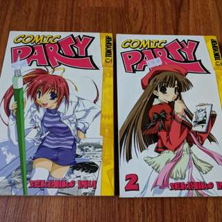 Comic Party Japanese Manga 2 volume set by Sekihiko Inui