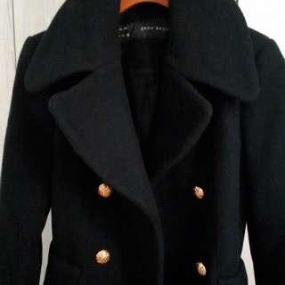 ZARA藍黑色金釦羊毛大衣