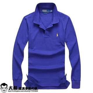 【大叔歐美代購】Polo Ralph Lauren 男仕長袖襯衫 長T恤 素面長袖 保羅小馬 可分期!配件皆有 !