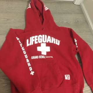 Red life guard sweater