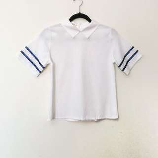 Korean collared white short sleeve top