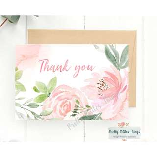 Watercolor Floral Card - Thank You (in blush or mint text)