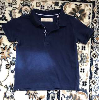 zara navy blue collared shirr