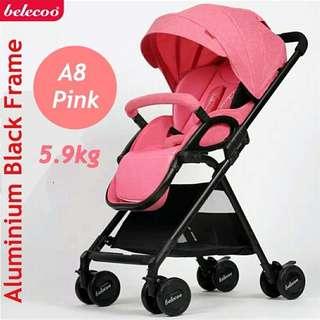 Belecoo A8 Pink Stroller