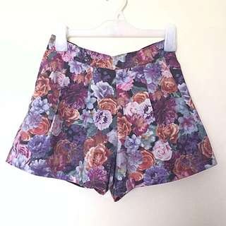 Floral Printed High-Waisted Shorts