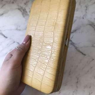 Mustard Yellow textured wallet clutch