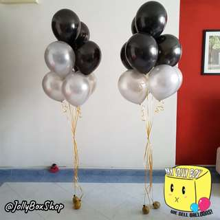 2 sets of balloons combination with Helium| Black and Silver Theme | 20 Helium Filled Balloons | Perfect for Birthday Party, Weddings, Proposals, Corporate Events