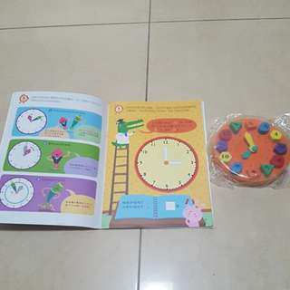 Foam clock with activity book