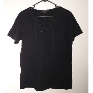 Glassons Black Lace up Shirt