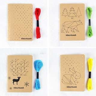 DIY Cross Stitch  Blank Notebook / Sketchpad with Yarn