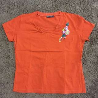Bossini Orange Top with Flower Embroidery
