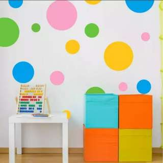 💥( 4 Set Colour $20 )Children room classroom kindergarten wall decoration stickers creative solid colourful circle round/Home Decor