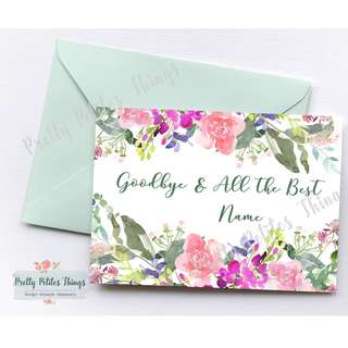 Watercolor Floral Farewell Card - Goodbye & All the Best