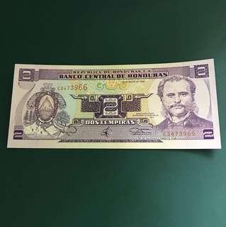 洪都拉斯早期紙鈔,全新直版,#106